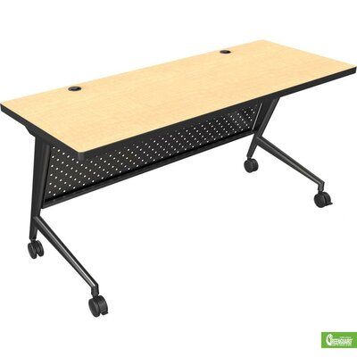 60 W Trend Fliptop Training Table with Wheels Base Finish: Black, Tabletop Finish: Nepal Teak