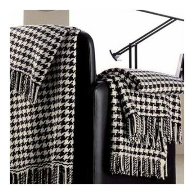 100% Cashmere Houndstooth Throw Color: Black & White