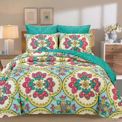 Couture Home 6 Piece Reversible Comforter Set Size: King, Color: Blue A4124-Gardenia-Comf-Blue-King-JG