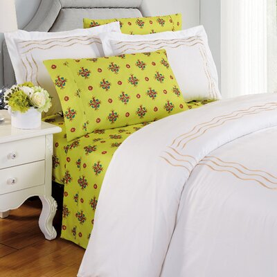 Camellia Floral Sheet Set Size: King, Color: Sage