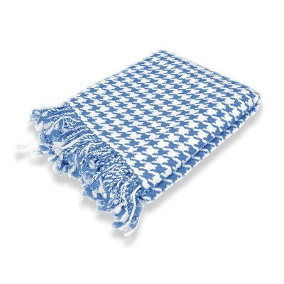 100% Cashmere Houndstooth Throw Color: Periwinkle Blue & Off White