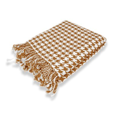 100% Cashmere Houndstooth Throw Color: Brown & White