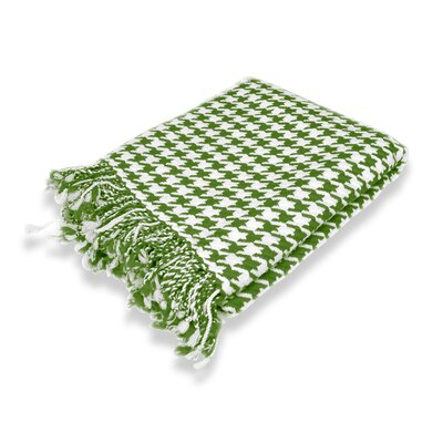 100% Cashmere Houndstooth Throw Color: Sage & Off White