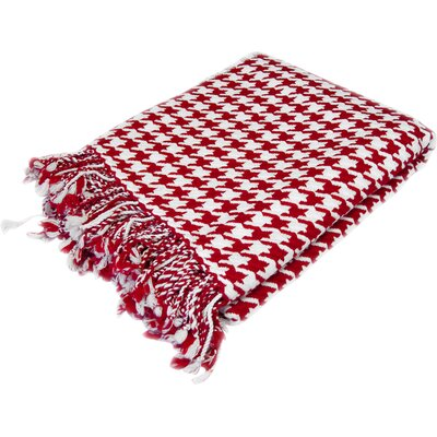 100% Cashmere Houndstooth Throw Color: Red