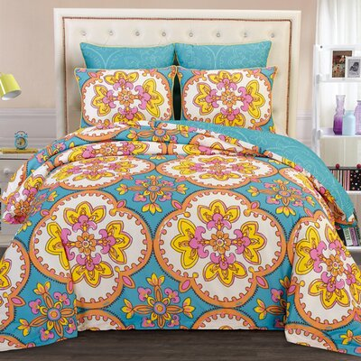 Couture Home 6 Piece Reversible Comforter Set Color: Light Blue, Size: King A4122-Gardenia-Comf-LghtBlue-King-JG