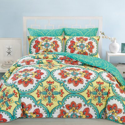 Couture Home 6 Piece Reversible Comforter Set Size: Queen, Color: Yellow