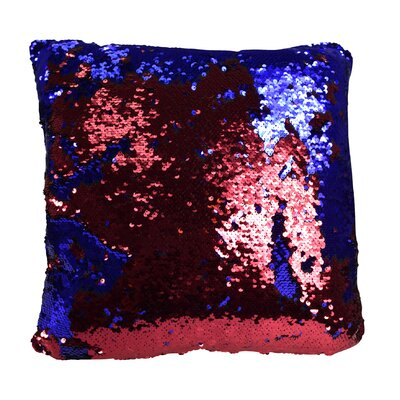 Hendrik Reversible Sequin Color Changing Pillow Cover Color: Red/Blue