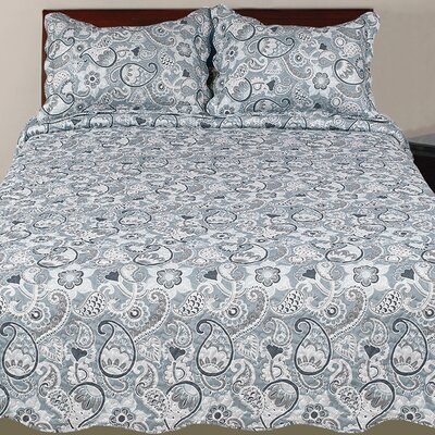 Hendrik 3 Piece Rustic Reversible Quilt Set Color: Gray, Size: King