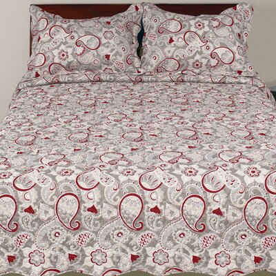 Hendrik 3 Piece Rustic Reversible Quilt Set Size: Queen, Color: Red