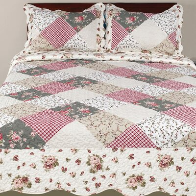 Hendrik 3 Piece Plaid & Check Reversible Quilt Set Size: Queen