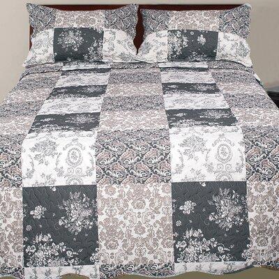 Hendrik 3 Piece Damask Reversible Quilt Set Size: King