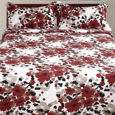 Hendrik 3 Piece Abstract Reversible Quilt Set Size: King