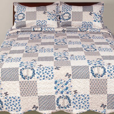 Hendrik 3 Piece Reversible Quilt Set Color: Blue, Size: King