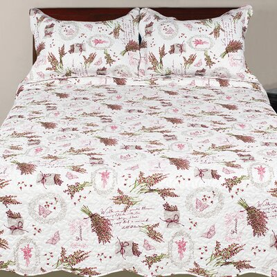 Hendrik Collection 3 Piece Reversible Quilt Set Size: King, Color: Red