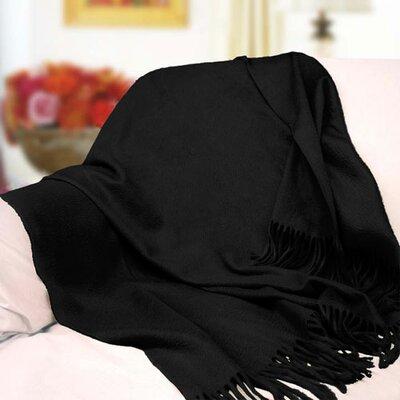 Peach Couture Signature Cashmere Throw Color: Black