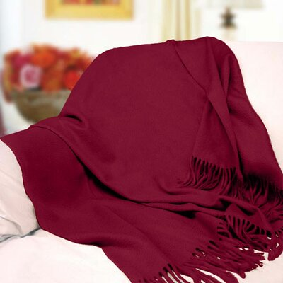 Peach Couture Signature Cashmere Throw Color: Maroon