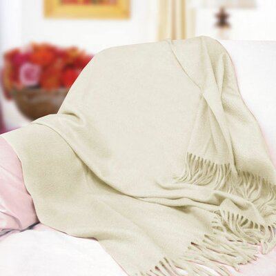 Peach Couture Signature Cashmere Throw Color: Off White