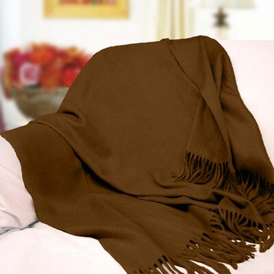 Peach Couture Signature Cashmere Throw Color: Brown