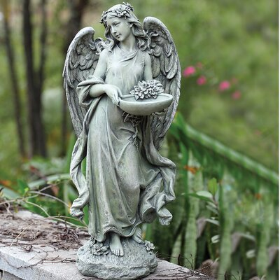 Angel with Bowl Decorative Tray Bird Feeder 63669