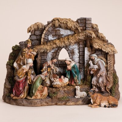 10 Piece Nativity Set with Stable 35930