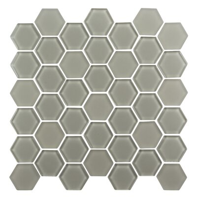 Pure Hexagon 2 x 2 Glass Mosaic Tile in Latte