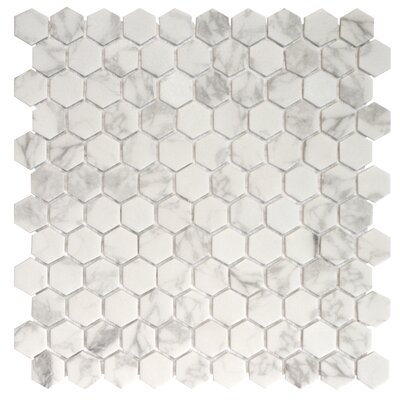 Onix 1 x 1 Glass Mosaic Tile in Statuario Malla