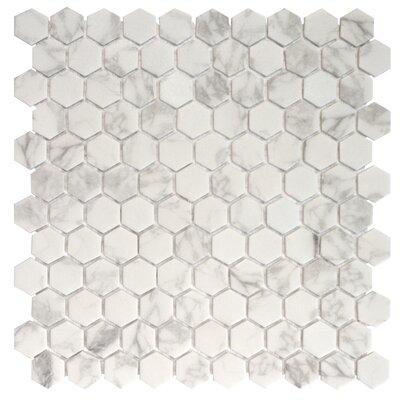Onix 1 x 1 Glass Mosaic Tile in Statuario Malla