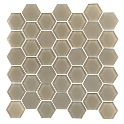 Pure Hexagon 2 x 2 Glass Mosaic Tile in Mocha