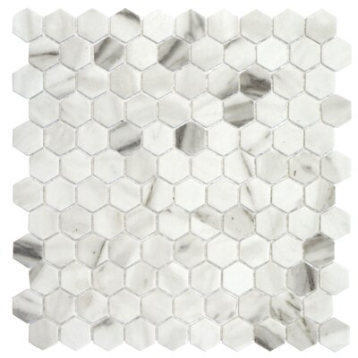 Onix 1 x 1 Glass Mosaic Tile in Calacatta Malla