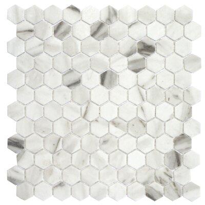 Onix 1 x 1 Glass Mosaic Tile in Calacatta Malla