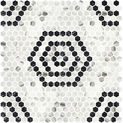 Onix 1 x 1 Glass Mosaic Tile in Black/Silver