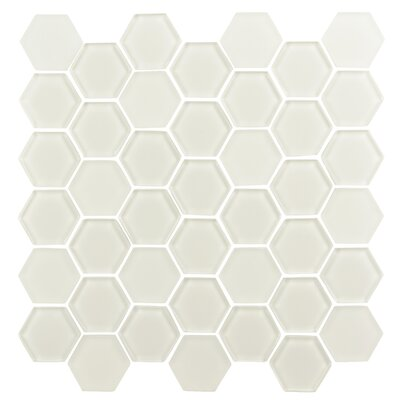 Pure Hexagon 2 x 2 Glass Mosaic Tile in Warm White