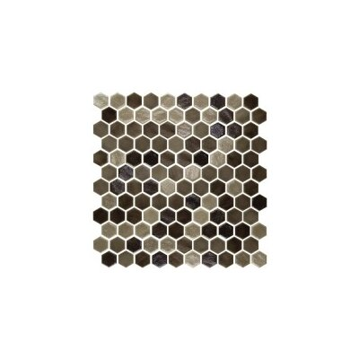 Onix 1 x 1 Glass Mosaic Tile in Blend Tan Malla