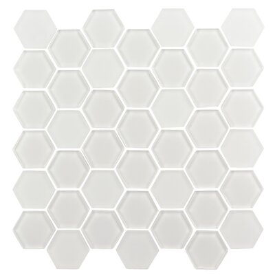 Pure Hexagon 2 x 2 Glass Mosaic Tile in Ice White