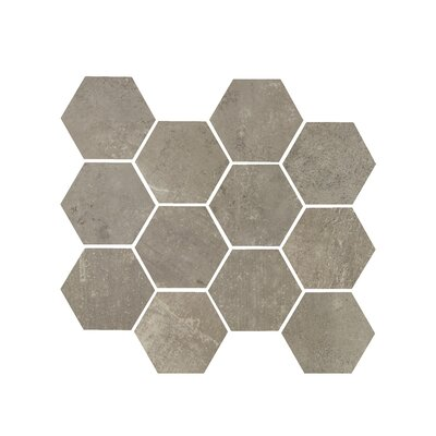 Hex 3.25 x 3.25 Porcelain Mosaic Tile in Argento