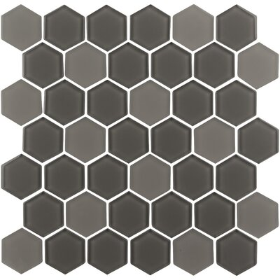 Pure Hexagon 2 x 2 Glass Mosaic Tile in Cappuccino