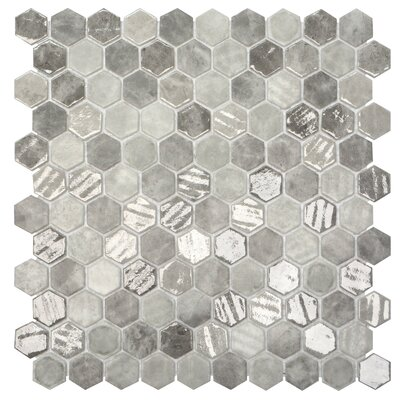 Onix 1 x 1 Glass Mosaic Tile in Gray/Silver