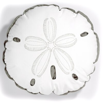 I Sea Life Sand Dollar Outdoor Sunbrella Throw Pillow Color: White/Grey