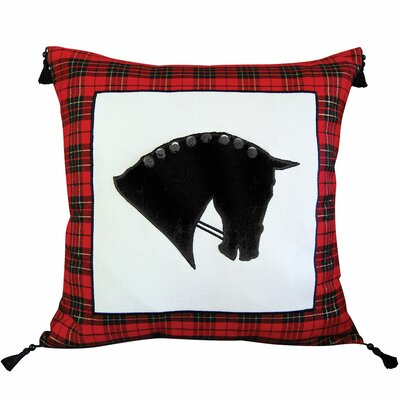 Abigail and Lily Equine Hunting Plaid Horse Head Cotton Throw Pillow