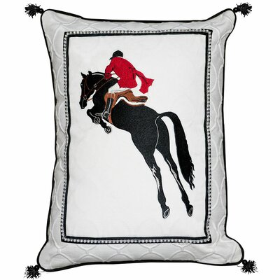 Abigail and Lily Equine Stadium Jumper Horse Cotton Throw Pillow