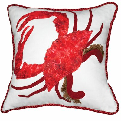 I Sea Life Coastal 3D Applique King of the Chesapeake Crab Throw Pillow