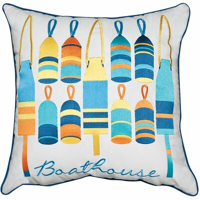Lake Retreat Buoys and Boathouse Outdoor Sunbrella Throw Pillow