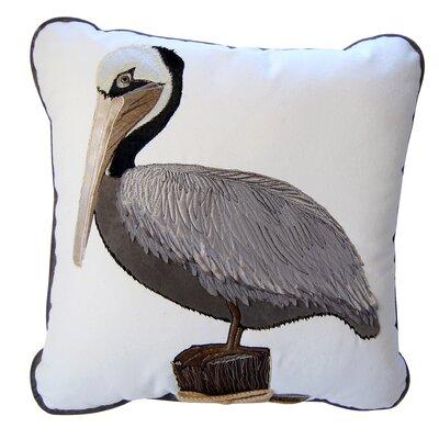 I Sea Life Coastal Pelican Applique Cotton Throw Pillow