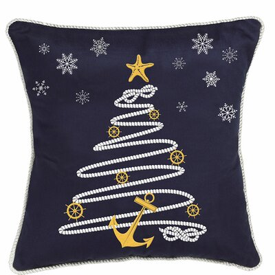 Nautical Holiday Rope Tree Throw Pillow