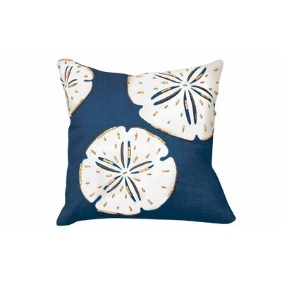 Beaded and Applique Linen Throw Pillow Color: Navy/White