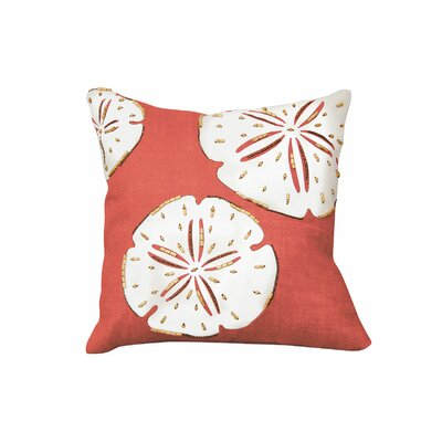Beaded and Applique Linen Throw Pillow Color: Coral/White