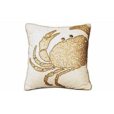 Beaded Crab Linen Throw Pillow