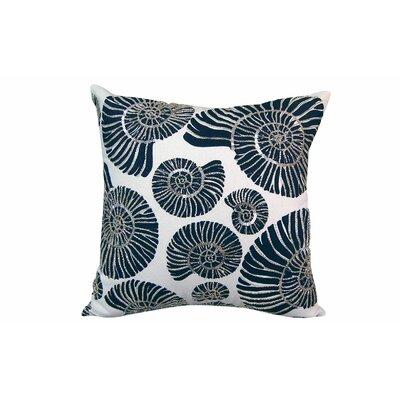 Beaded Nautilus Shell Linen Throw Pillow
