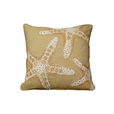 Beaded Linen Starfish Linen Throw Pillow