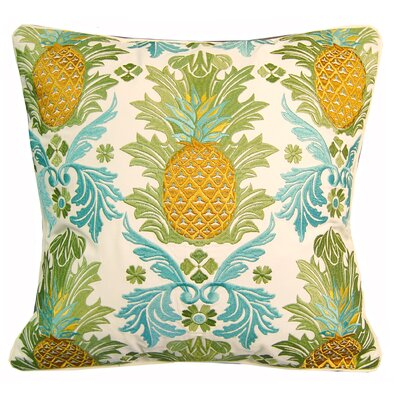 Indoor/Outdoor Embroidered Pineapple Throw Pillow